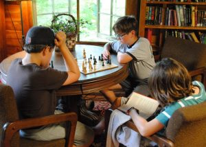 Campers in library